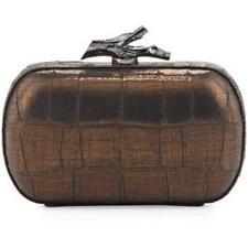 New Diane Von Furstenberg Lytton Croc-Embossed Clutch Bag, Black-Bronze - $348.0