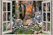 Cheap 3D Window view Lazing Wolf Wolves Wall Sticker Art Decal Wallpaper S108