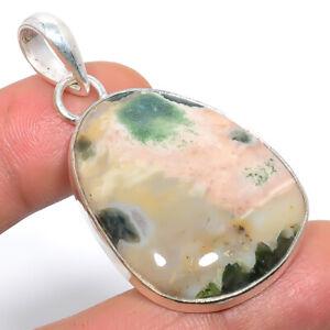 """Ocean Jasper Handmde Ethnic Gemstone 925 Sterling Silver Pendant Jewelry 2"""" F542"""