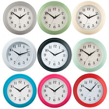 Small Round Wall Clock Plastic Antique Vintage Style Bedroom Kitchen Quartz Time