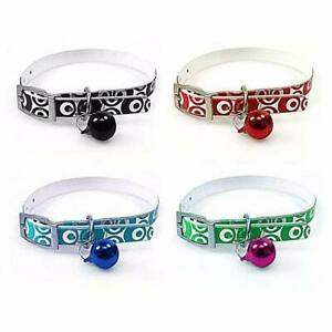 Plastic Metallic Printed Assorted Colour Dog Collar With Bell 32cm