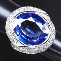 AAA VIOLET BLUE TANZANITE RING SZ 6.75 OVAL 20.20 CT. 925 STERLING SILVER WOMAN