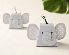 12 Grey Gender Neutral Elephant Baby Shower Birthday Party Favor Boxes