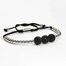 Men Women Bead Bracelet 3 Black Balls Inlaid Black Crystal 24k White Gold Plated