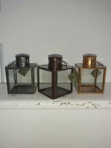 "SET OF ""THREE"" HANDMADE SQUARE GLASS LANTERNS FROM MORADABAD,INDIA"