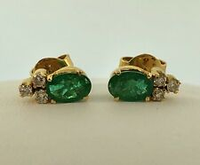 Vintage 18K Yellow Gold Oval Emerald Diamond May Anniversary Stud Earrings