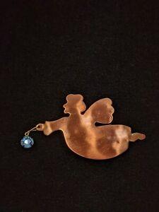 Artisan Copper Blue Crystal Flying Angel Pin Brooch 13094
