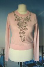 GIMBATTISTA VALLI for H&M pink beaded jumper, size XS UK 6 or 8