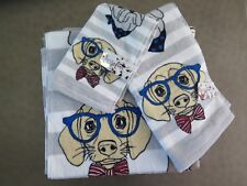 Kassafina Home Collection Bath Towel Set 3pc Whimsical Dogs Glasses Gray Stripe