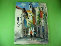 Impressionistisches kleines Ölgemälde Gasse mit Kirche in Portugal, Fatima