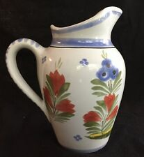 "Quimper France 6-1/4"" Tall Pitcher Blue With Flowers and Rooster F295 D485 J.P."