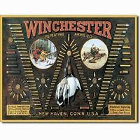 Winchester Arms Bullet Board Ammunition Ammo Firearms Guns Hunt Metal Tin Sign