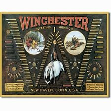 Winchester Arms Bullet Board Ammunition Ammo Firearms Guns Hunt Metal Tin Sign