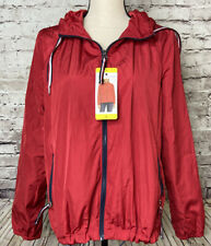 Tommy Hilfiger Red Hooded Windbreaker Zip Jacket Womens S L