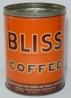 Large Vintage 1950s BLISS COFFEE GRAPHIC COFFEE TIN 2 POUND NEW YORK MADE IN USA