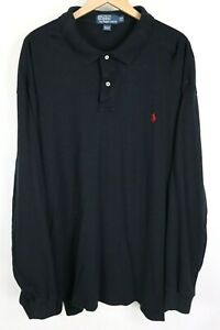 Polo Ralph Lauren Mens Sz 2XLT Tall Black Soft Cotton Long Sleeve Shirt Red Pony