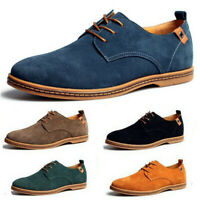 Men's Suede European Style Oxfords Leather Shoes Lace Up Casual Loafers Multi Sz
