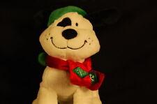 "Christmas WalMart White Dog Black Ears Spot 7"" Plush Stuffed Animal"