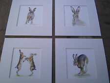 "Watercolour Hare Prints  x 4, in mounts  6"" X 6""  mounts"