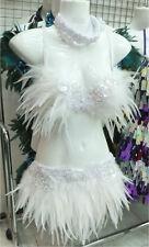 EVITA FTRW Feather Dance Drag Bra Skirt Bra Belt White Swan Costume Set XS-XL