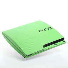 VERDE CARBONIO PS3 SLIM CON TEXTURE pelle-Full Body Wrap-Decalcomania Adesivo Cover