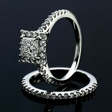 2.85 CT PRINCESS CUT DIAMOND HALO ENGAGEMENT RING 14K WHITE GOLD ENHANCED