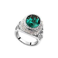 18K White Gold Plated Made With Swarovski Crystal Retro Pattern Dark Green Ring