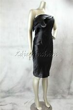 $1295 New with Tags RACHEL ROY Black Satin Layered Bust Strapless Dress 10