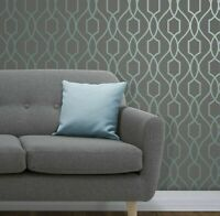 Contemporary Geometric lines modern wallpaper gray blue metallic wall coverings