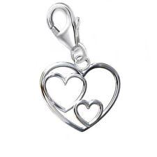 Herz CHARM 925 Echt Silber Anhänger Damen Mädchen Geschenkidee