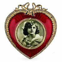 Red Heart Enameled Guilloche Russian Royal Picture Frame