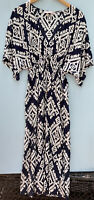 Tory Burch Pomelo Floral Beach Dress XS Navy Blue Beihe Floral Kaftan Tunic Swim