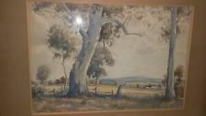 arnold jarvis watercolour-aust. landscape- ornate gold frame