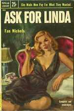 ASK FOR LINDA, by Fan Nichols - vintage sleaze PB 1st, PopLib #483, GGA