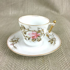 Antique Demitasse Coffee Cup Saucer Hand Painted Duo Porcelain China Rose Vtg
