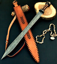 28 INCHES FIRE Damascus Knife Custom Handmade WALNUT WOOD HANDLE GLADIUS SWORD