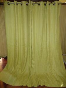 WEST ELM KIWI GREEN LINEN (PAIR) GROMMET UNLINED CURTAINS PANELS 48 X 84