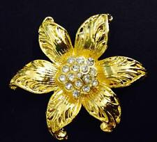 Gold Rhinestone Crystal Scarf Clip / Ring - Pretty Flower