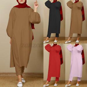 Women Muslim Islamic Long Sleeve T-shirts Wide Leg Pants Casual Loose Suits Plus