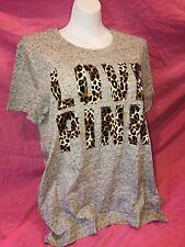 NWT Victoria's Secret PINK Animal Leopard Gray Campus Tee Tshirt L XL Cute!! ❤️