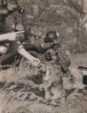Pekingese Dog Shaking Hands with Woman Vintage Snapshot Photo