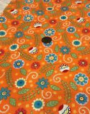 "Flowers & Leaves - Blue Green Red White/Orange ""Bloomin Fresh"" Moda 100% Cotton"