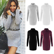 AU Fashion Womens Ribbed Knitted Sweater Long Sleeve Polo Roll Neck Jumper Dress