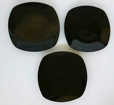 "3  Black Square Dinner Plates 10"" Tabletops Gallery Monet"