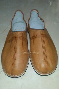 Moroccan Traditional Babouches, Slippers for Men,Handmade Leather, Gold original