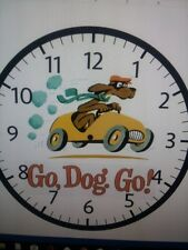 "WALL CLOCK- DR. SEUSS-GO DOG GO-  Battery operated 9"" HANDMADE"