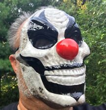MOVING JAW CLOWN FACE MASK Plastic Mouth Moves Killer Scary Red Nose Evil Jester