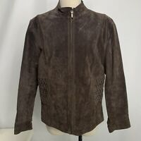 Coldwater Creek Blazer Jacket Leather Brown Womens PM Zip Up Long Sleeve