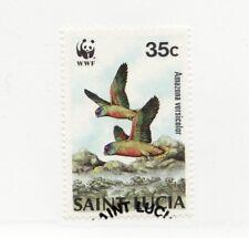 SAINT LUCIA Scott #903 Θ used postage stamp, WWF bird Amazona versicolor