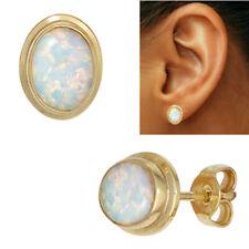 NEU 10 mm Luxus Edelstein Ohrstecker 333er echt Gold 8 Karat Opal Ohrringe